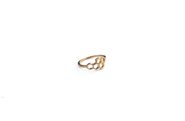 gold honeycomb stacking ring