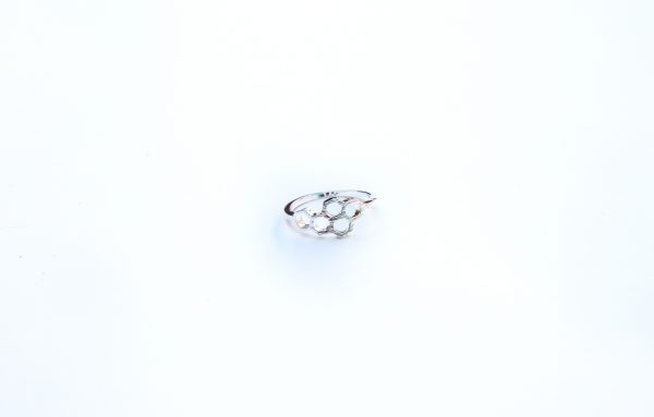 silver honeycomb stacking ring