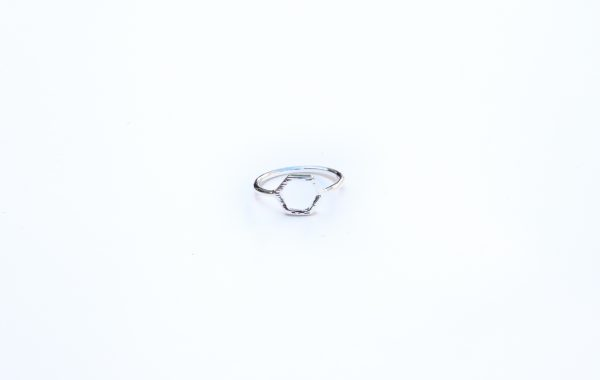 silver hexagon stacking ring