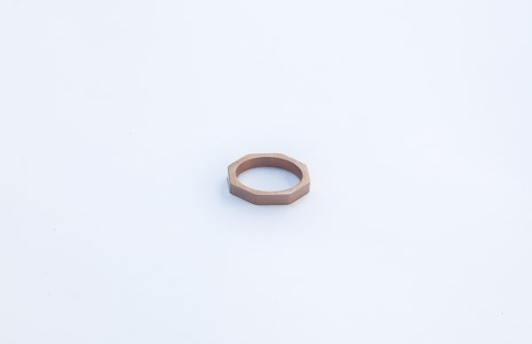 rose gold bolt nut hexagon stacking ring