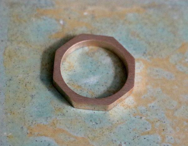 rose gold hexagon stacking ring