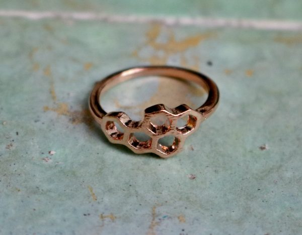 rose gold honeycomb stacking ring