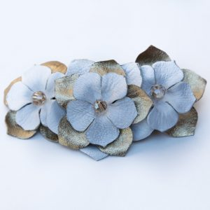 gold white flower barrette clip