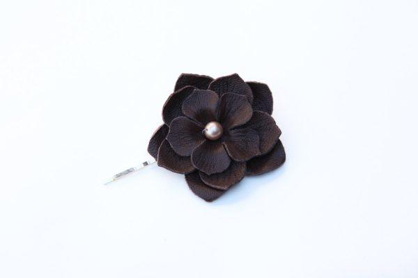 brown large flower hair grip