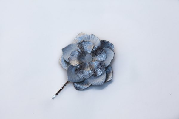 white silver large flower hair grip