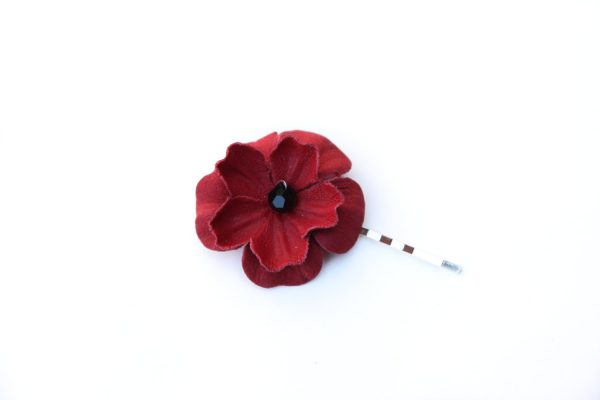 poppy flower hair grip