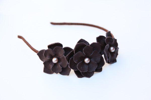 brown leather flower headband