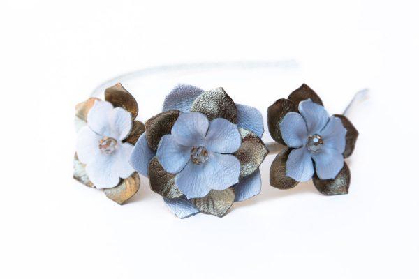gold white leather flower headband