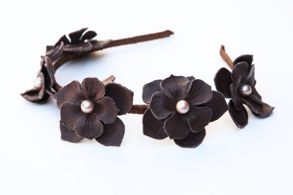 brown flower headband
