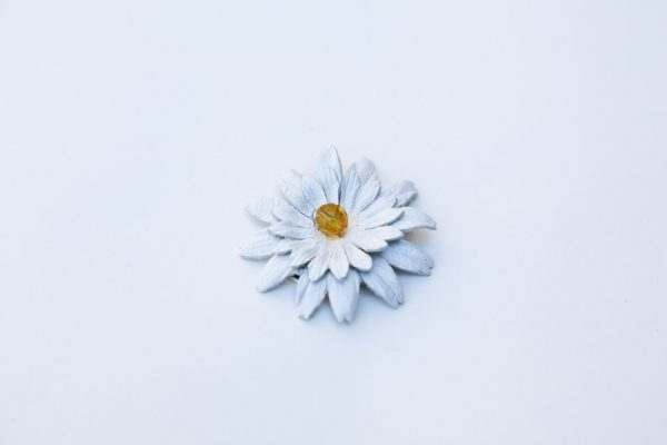 leather daisy necklace pendant