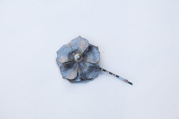 silver flower hair grip