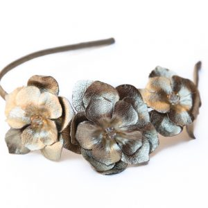 gold leather flower headband