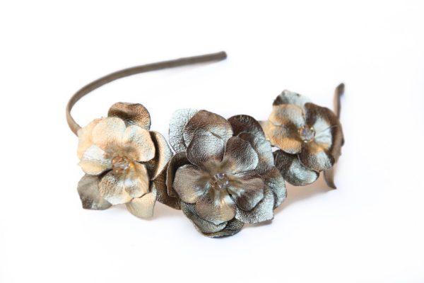 gold leather flower headband
