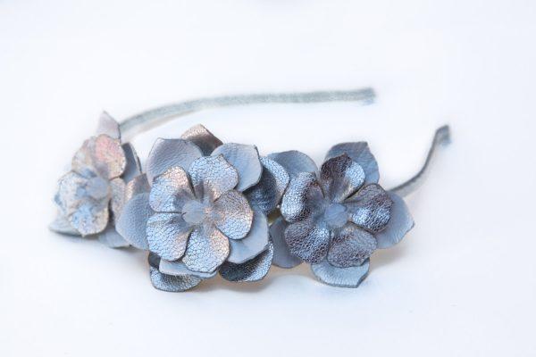 silver leather flower headband