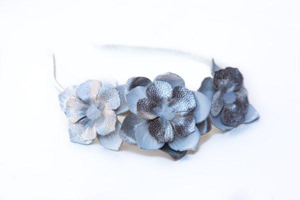 silver white leather flower headband