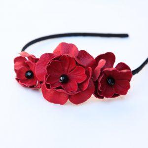 red poppy cluster headband
