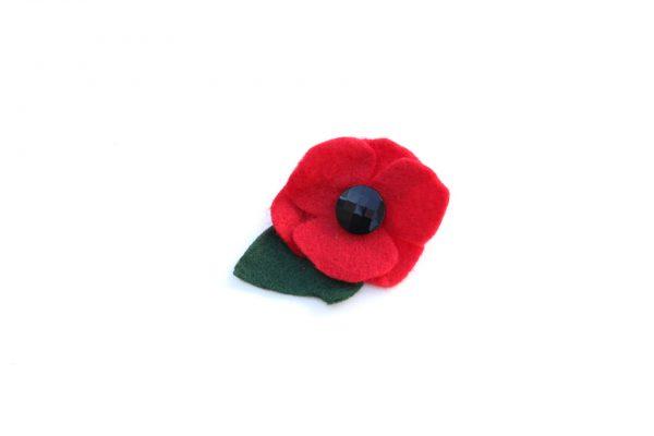 red felt poppy corsage