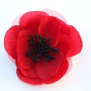 silk poppy corsage