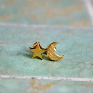 gold moon star stud earrings