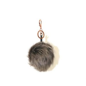 brown pom pom keyring bag charm
