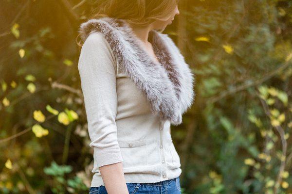 taupe sheepskin collar