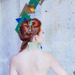 Teal leaf antler hair grip by Beverley Edmondson Millinery