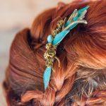 Teal leaf antler hair grip Beverley Edmondson Millinery