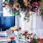 Colourful floral wedding table decor urban tribal photoshoot