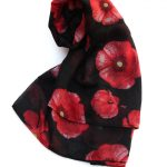 poppy print scarf black