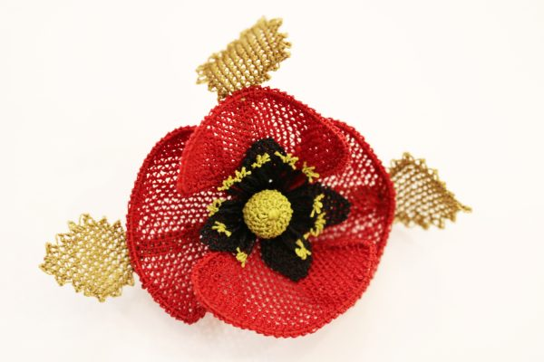 Double Leaf Crochet Poppy Brooch Beverley Edmondson Millinery