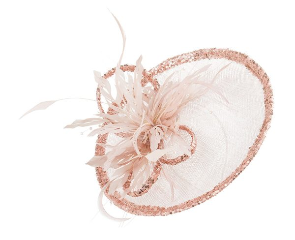 Pale pink saucer hat with sequin trim and long coque feathers with Swarovski crystals
