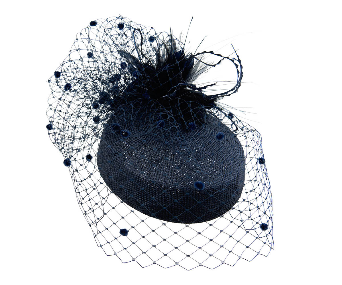 57e78b6e44817 Navy blue straw pillbox hat with feather arrangement and spotted ...