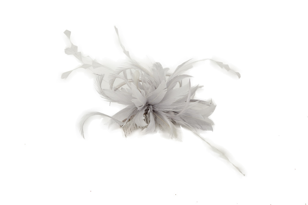 cc2aec98 Delicate Silver Feathered Fascinator | Beverley Edmondson Millinery